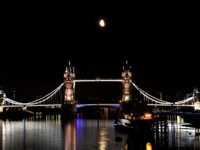 London Tower Bridge moon